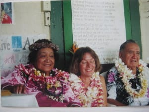 Makana on her graduation day with Auntie Margaret Machado and Uncle Dan